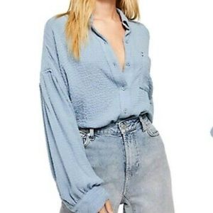 Free People Solid Hidden Valley Button Down